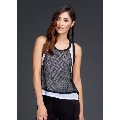 DOUBLE LAYER TANK WITH BRAIDED TRIM